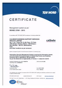 Calibehr ISO Certificate